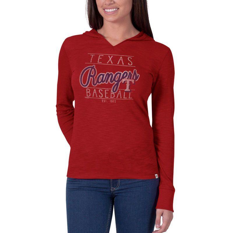 94f89a5e7 Texas Rangers  47 Women s Primetime II Long Sleeve Hooded V-Neck T-Shirt -  Red