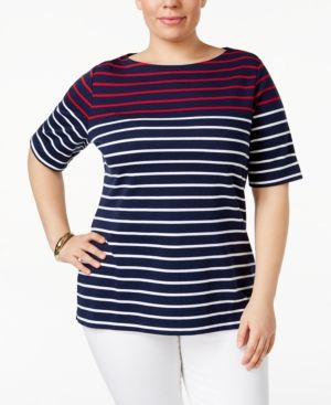 Karen Scott Plus Size Striped Boat-Neck Top, Only at Macy's - Blue 1X