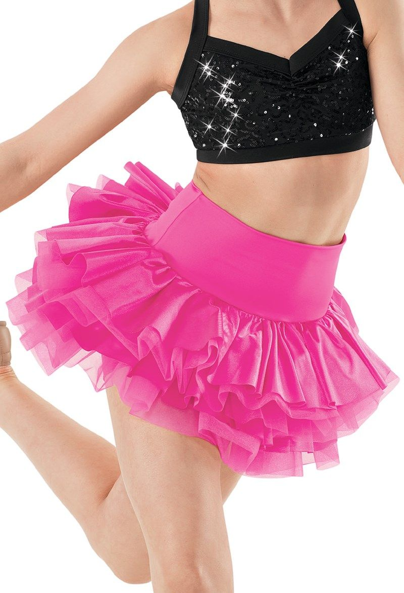 High Waisted Tiered Satin Skirt | Balera™