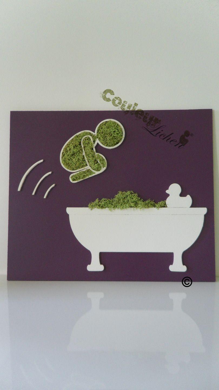 Le plongeur en lichen pour la salle de bain, tableau végétal ...