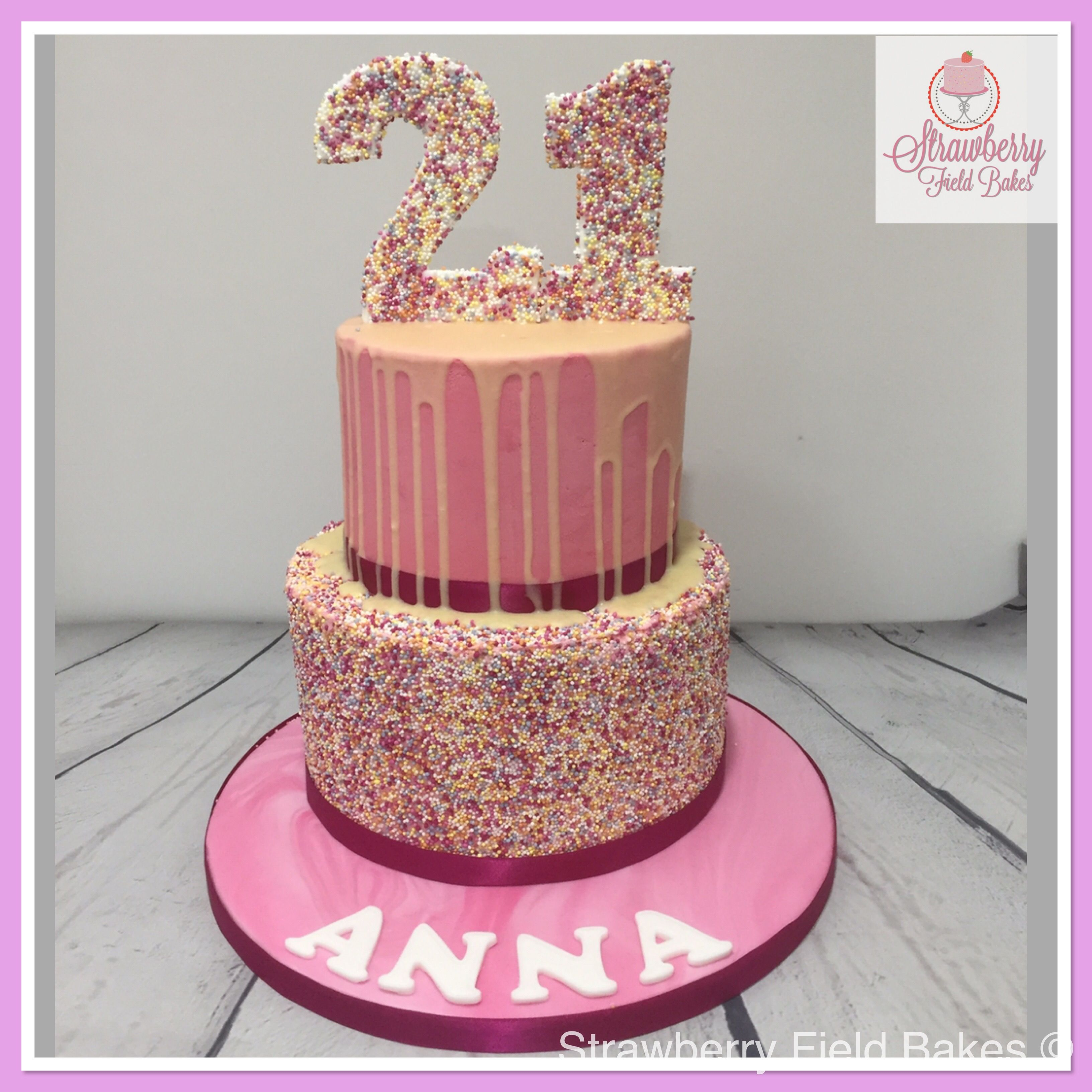 Remarkable Sprinkles 2 Tier 21St Birthday Cake With Images 21St Birthday Birthday Cards Printable Nowaargucafe Filternl