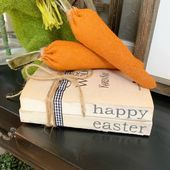 Happy Easter Book Set  Stamped Books  Farmhouse Books  Easter Decor  Book St