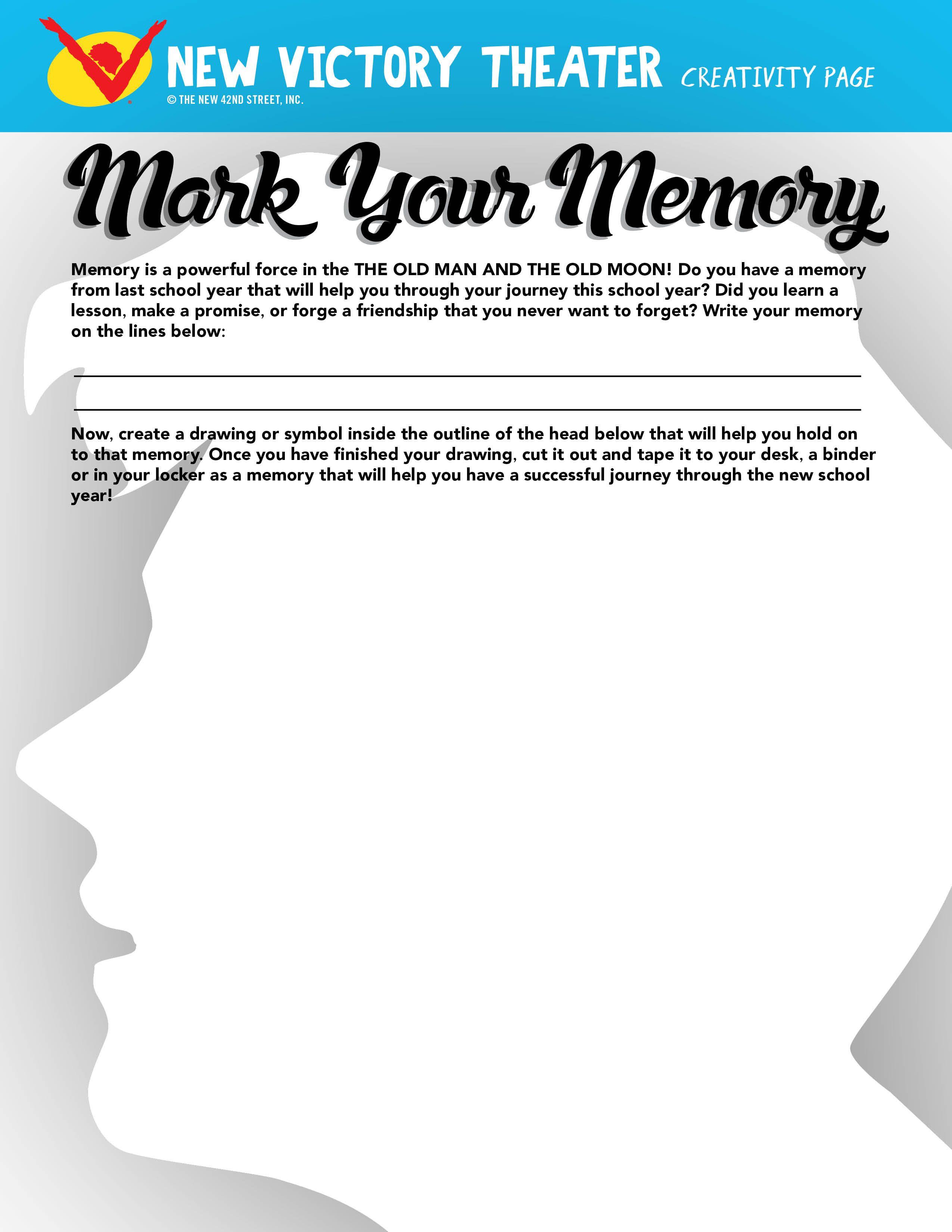 Mark Your Memory Storytelling Printable Worksheet