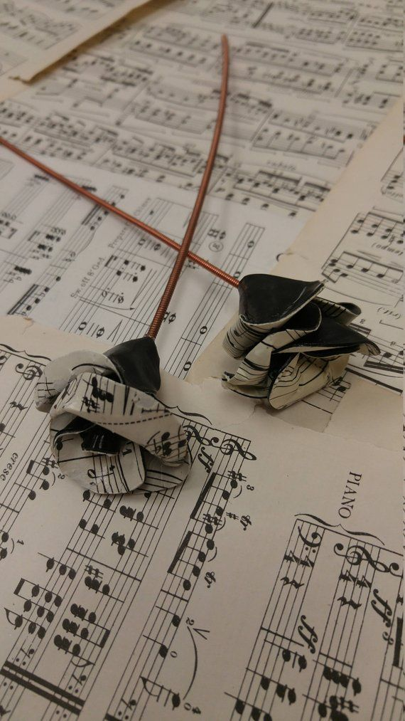 Vinyl Record Flower with Piano Wire Stem - Vintage Sheet Music and Vinyl Record Rose - Black Gothic