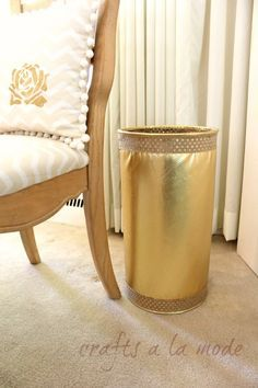 Upcycled Old Trash Container to a Gorgeous New Gold One | Crafts a la mode
