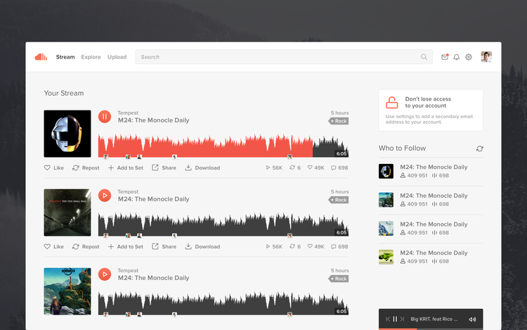 Soundcloud website redesign concept | ik ben ijsthee blog
