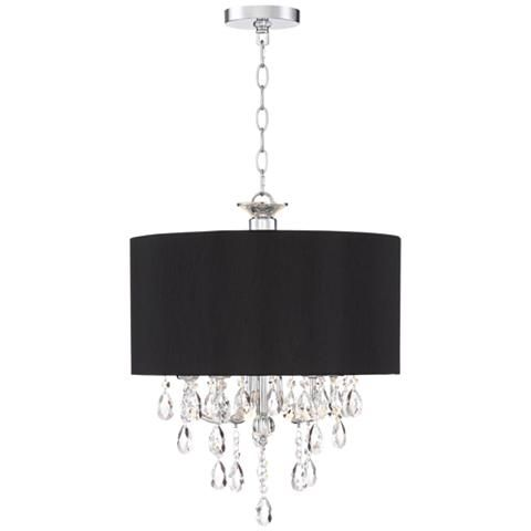 Kali 17 Wide Chrome With Black Shade Crystal Pendant Light 15e83 Lamps