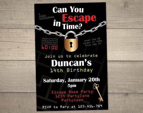 Escape room invitation escape room party escape room for Escape room party