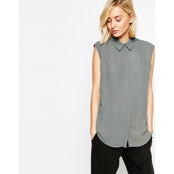 ASOS Sleeveless Blouse featuring polyvore women's fashion clothing tops blouses grey grey top grey blouse asos blouse grey sleeveless top asos