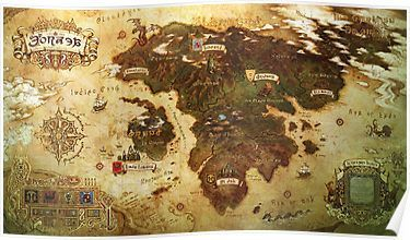 FFXIV Eorzea map Posters | Products | Fantasy world map, Fantasy map