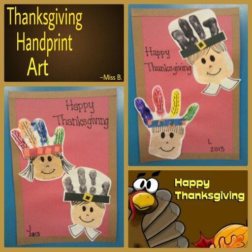 Thanksgiving Pilgrim Indian Handprint Craft