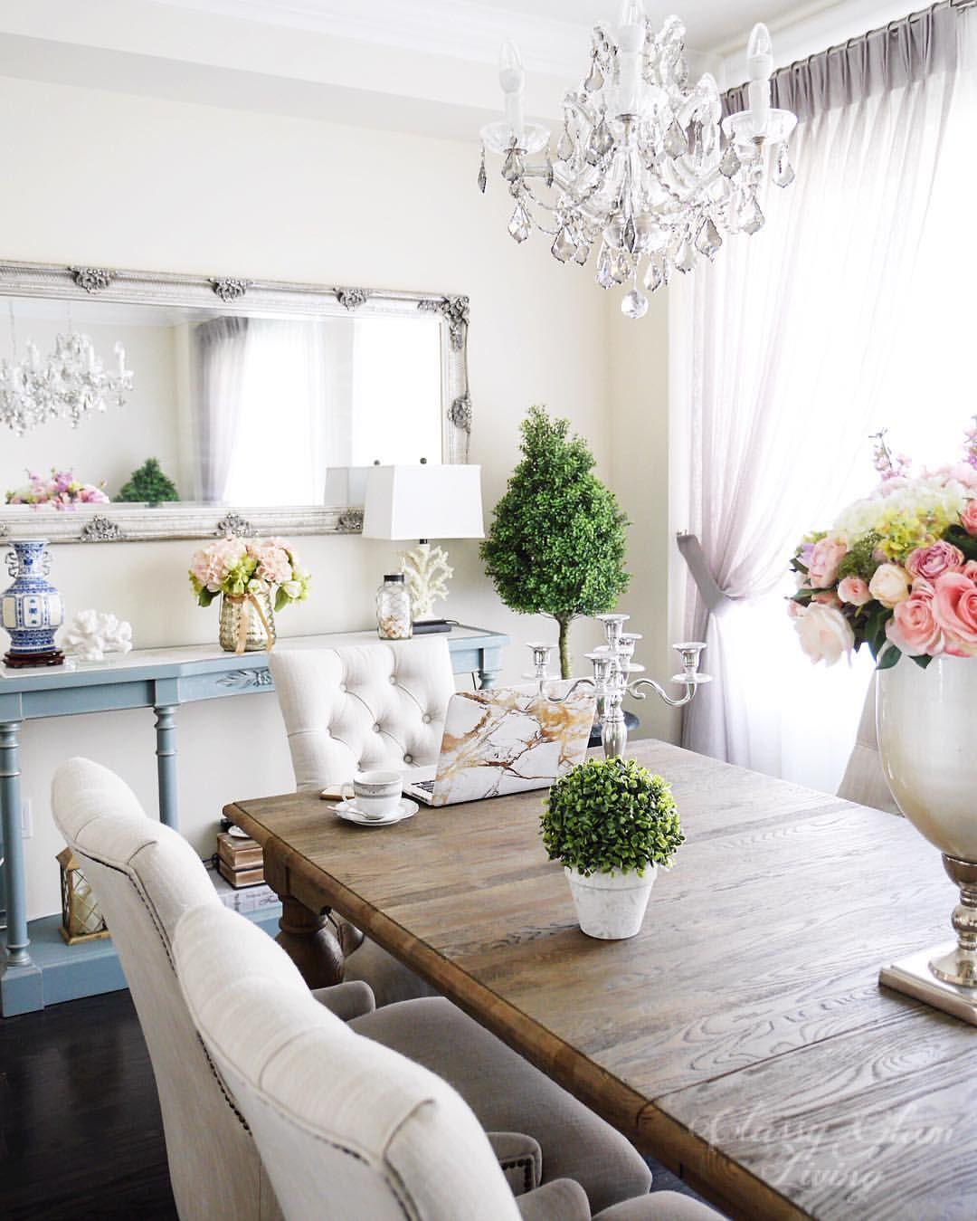 Dining Room Styling Decor Restoration Hardware Grand Bare Table Tufted Chairs Console Fl Arrangement Cly Glam Living