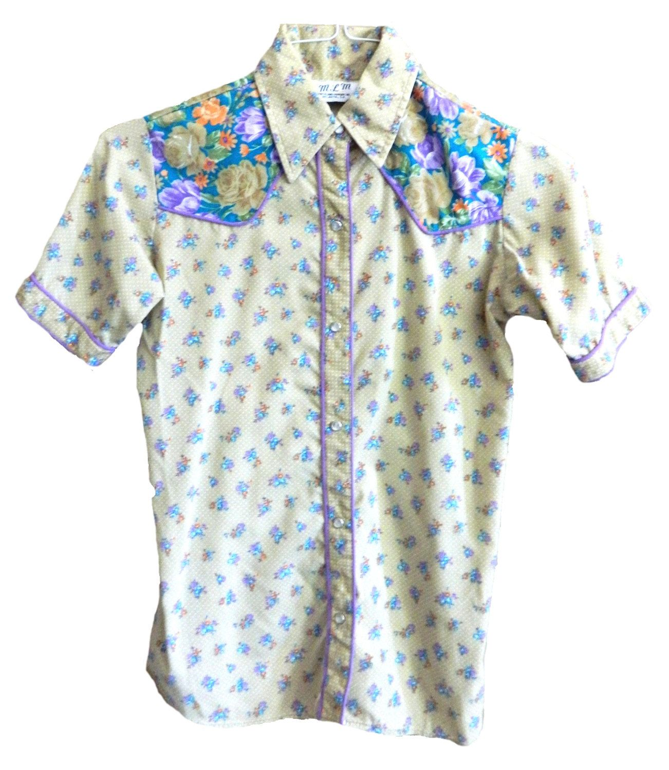 Vintage mens womens MLM Mayer Lang Marquis small collared button up short sleeve shirt purple western floral tapestry rose polka dot hipster by VELVETMETALVINTAGE on Etsy