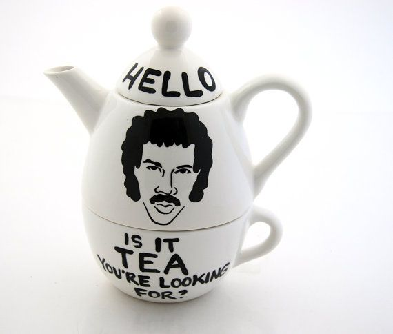 Hello. Is it tea you're looking for? Lionel Richie-inspired teapot from LennyMud on Etsy