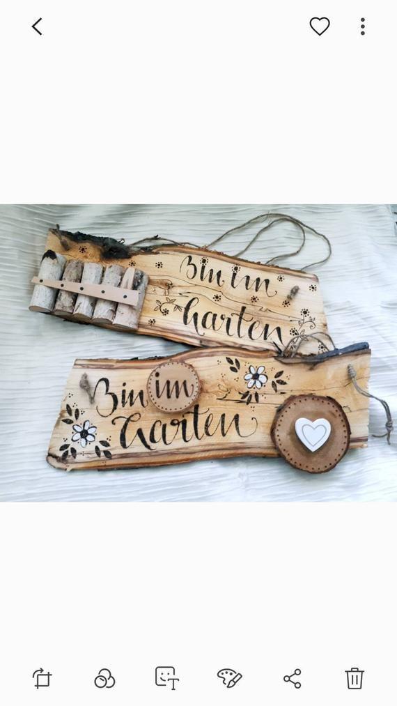 Schild Bin Im Garten Basteln Mit Holzscheiben Selber Machen Und Schild Selber Machen