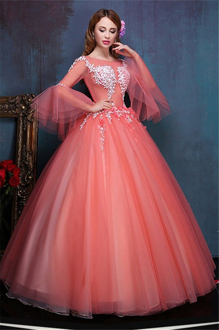 Ball Gown Illusion Neckline Flare Sleeve Coral Tulle Corset Prom ...