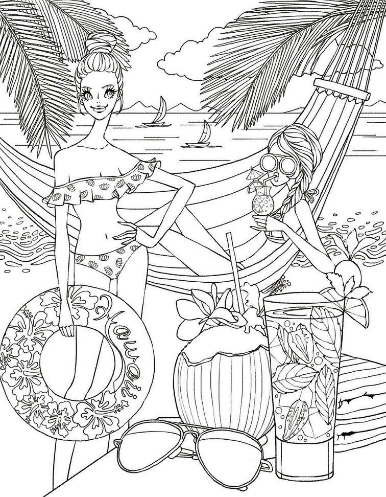 Beach Coloring Page For Adults Printable Girls Relaxing The Beach Coloring Page For Both Coloring Books Cool Coloring Pages Coloring Pages