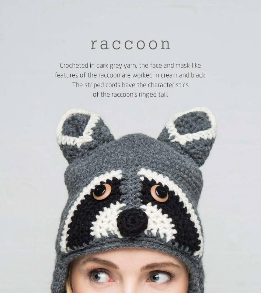 Fashion (Cr) - Nón len hình gấu trúc Mỹ- Raccoon hat | gorros ...