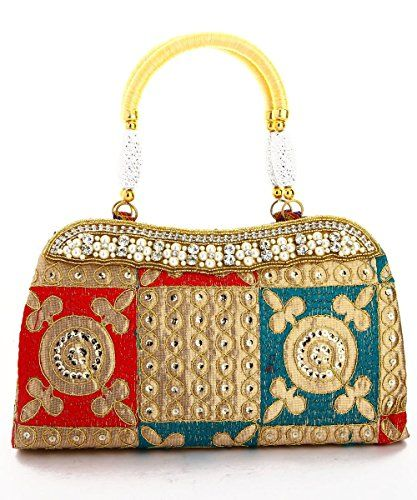 7b27536540d8 LadyBugBag Red and Green Silk Designer Handbag - LBB10118