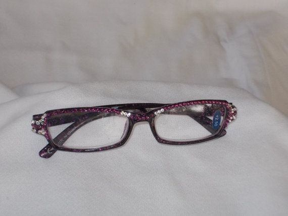Swarovski  Crystal Reading Glasses, 2.50 Strength, Rectangular Marbled Burgundy Frames with rich Amethyst and Clear Crystals by jamaartbeads. Explore more products on http://jamaartbeads.etsy.com