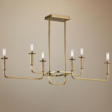 Kichler Alden 38 1 2 W Brass 6 Light Linear Chandelier