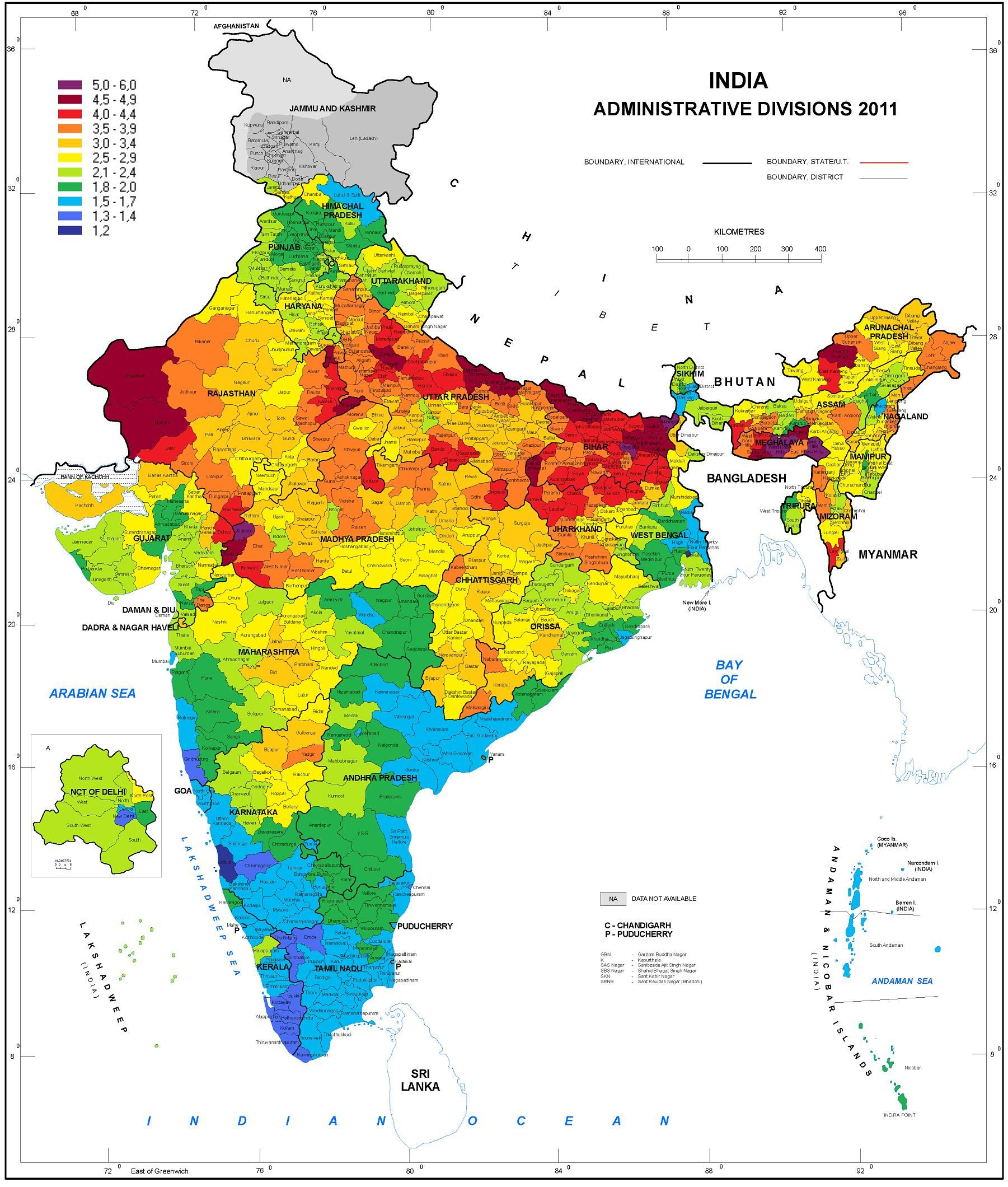 District Wise Map Of India District wise map of fertility rate in India   maps   India map