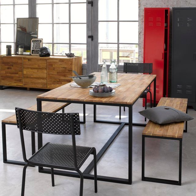 Image HIBA Solid Walnut and Steel 6-8 Seater Table La Redoute