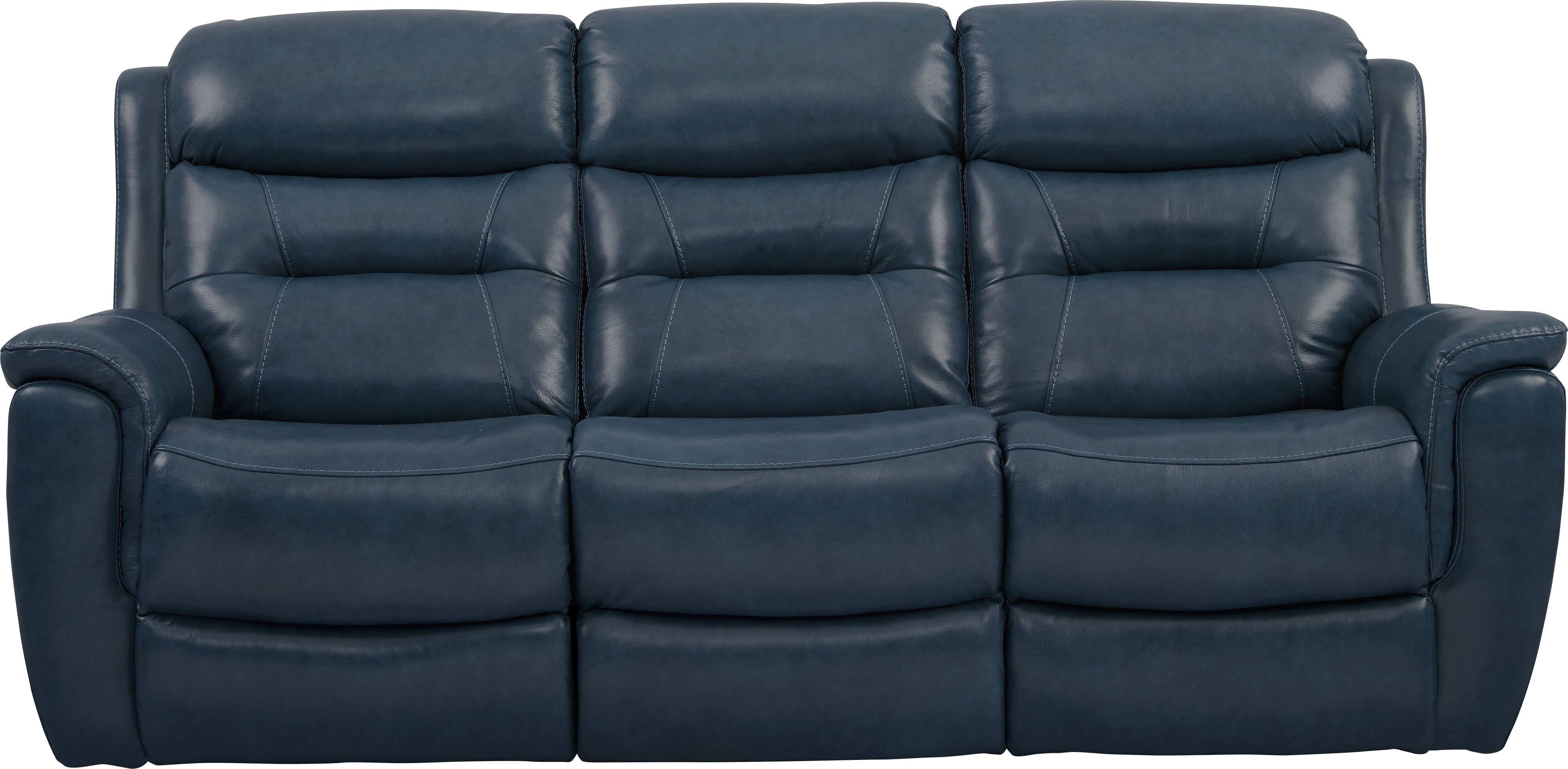Sabella Navy Leather Reclining Sofa Reclining Sofa Power