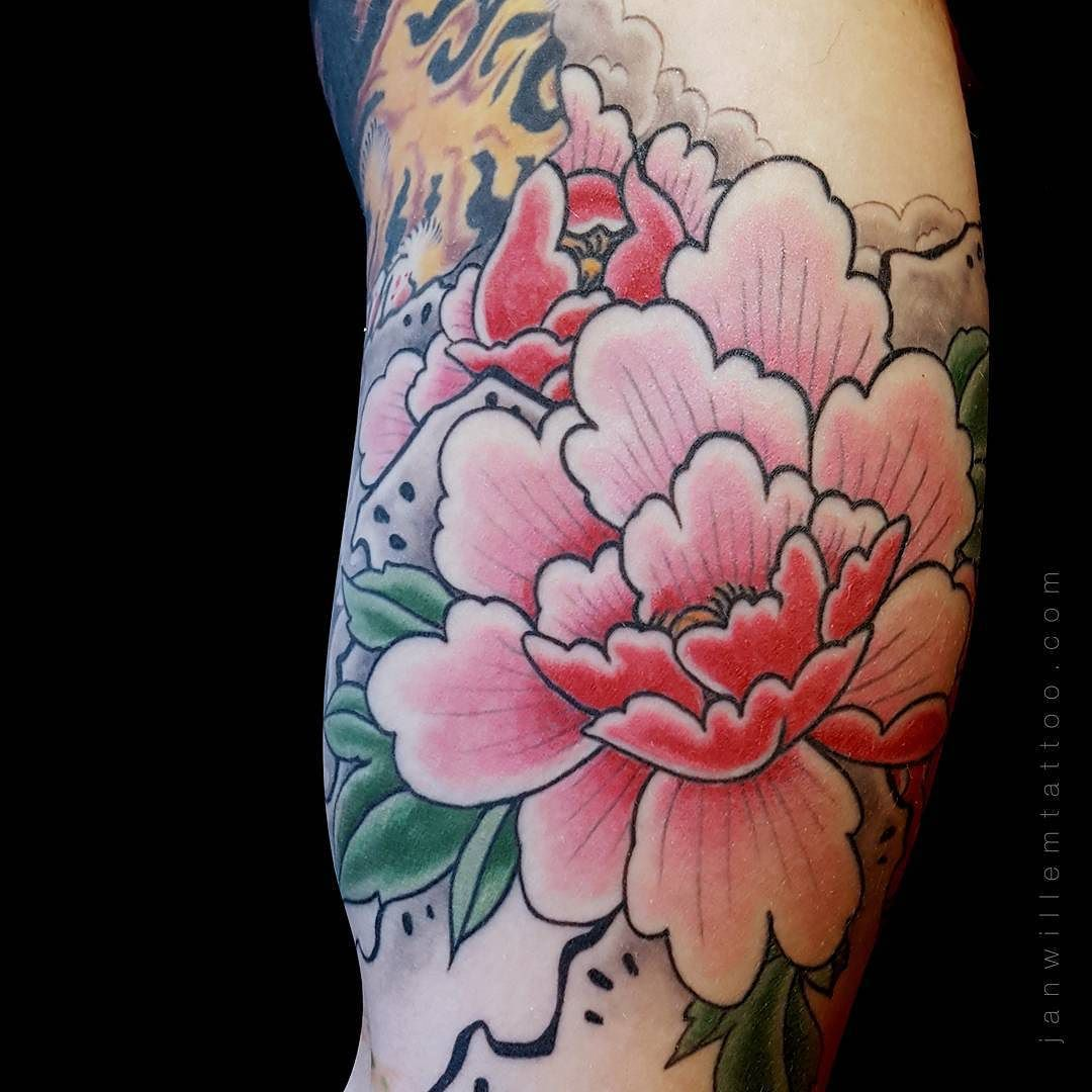 i like horimono. - Peony | In progress by janwillemtattoo...