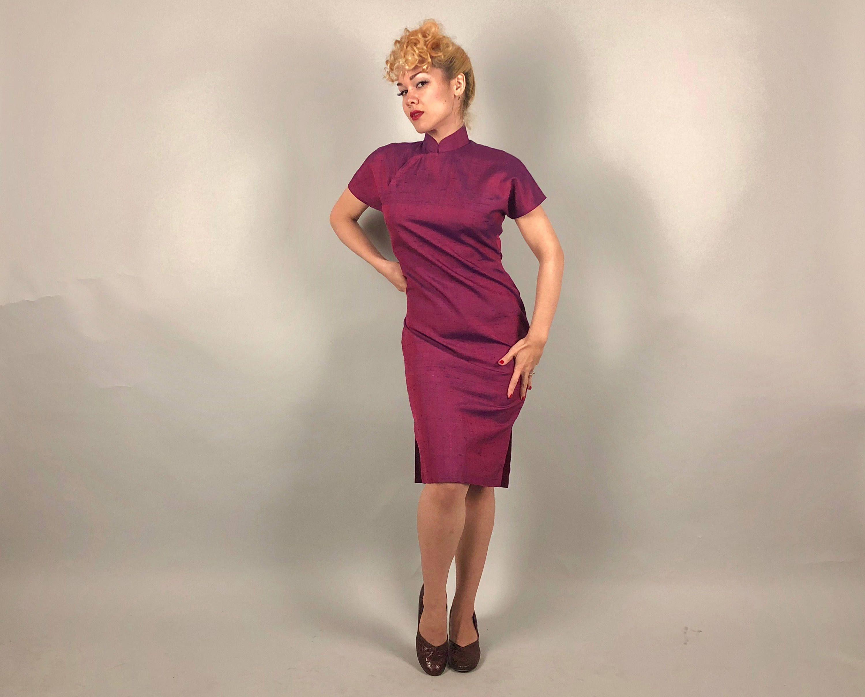 Jahrgang 1950 Kleid 50er Jahre Magenta Pink lila und blau ...