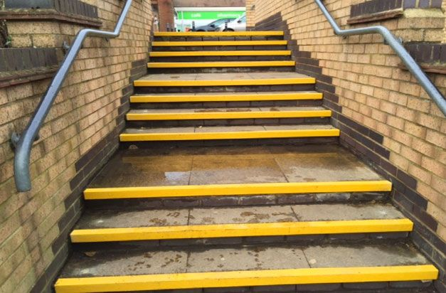 2 After Superstore Paving Steps With High Visibility Yellow Stair Nosings Stair And Floor