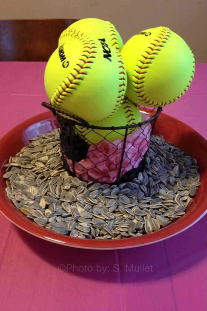 Softball Partycenter Piece That We Made For Alyssas Birthday