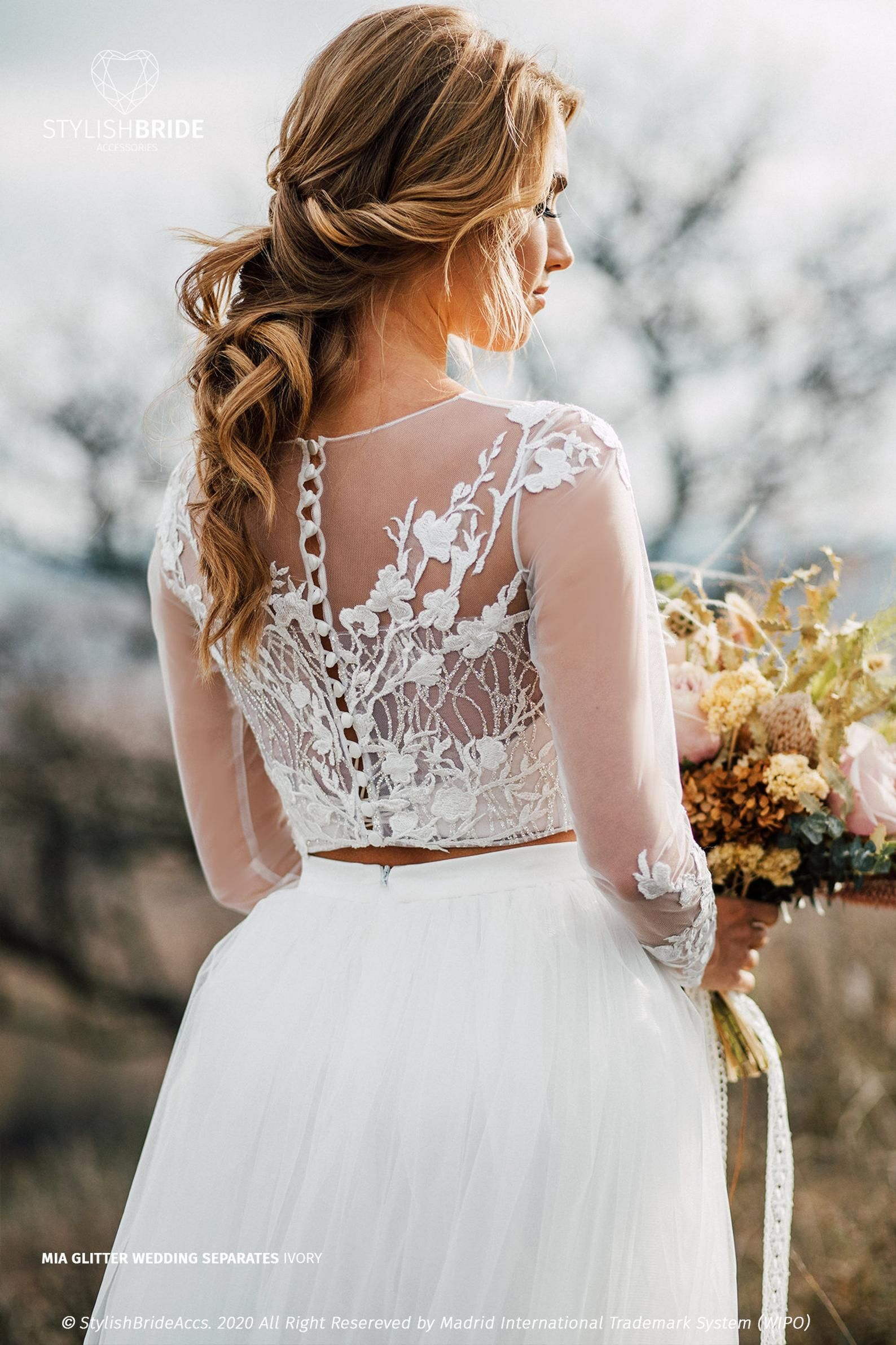 Mia Glitter Wedding Top Waves Glitter And Flower Lace Crop Top With Long Sleeves Engagement Plus Size Disney Wedding In 2021 Boho Bridal Wedding Dress Long Sleeve Bohemian Wedding Dress [ 2383 x 1588 Pixel ]