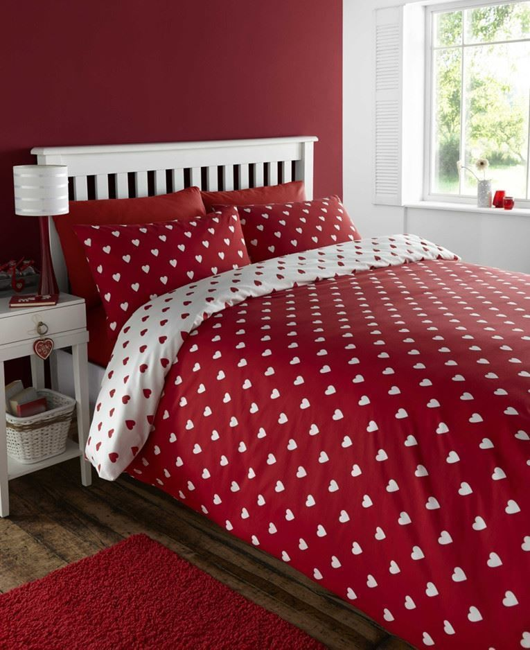 Vogue Red And White Love Hearts Reversible Double Duvet Cover Bed Set Double Duvet Covers Bedding Sets Bed