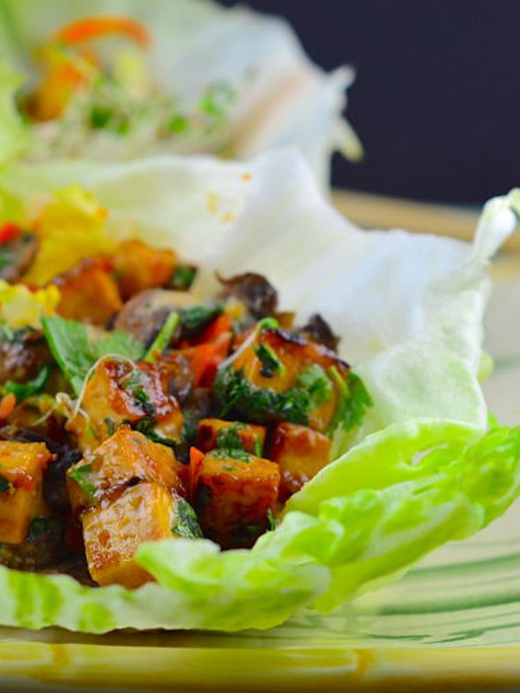 Duck sauce gives these tofu filled lettuce wraps a sweet and tangy vegan thai lettuce cups with peanut sauce an easy healthy recipe lettuce wraps are a perfect low carb dinner forumfinder Choice Image