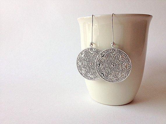 Antique Silver Moroccan Shield Earrings by TesoroDelSol on Etsy