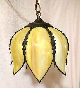 Medieval Vintage Swag Lamps   Vintage-Textured-Slag-Glass-LOTUS-TULIP-LIGHT-Hanging-Swag-Light ...