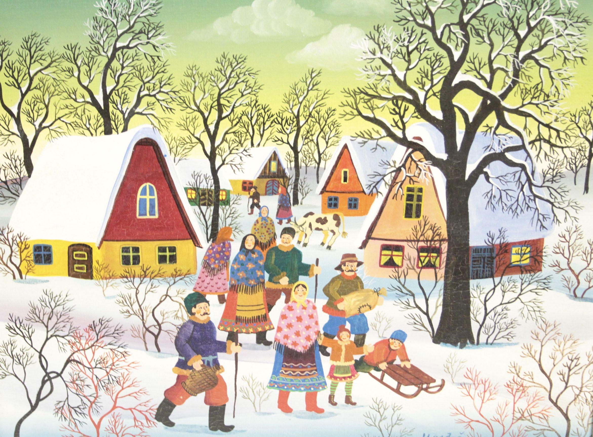 Dorf im Winter mit Personen, Naive Malerei von Susi Majdic Öl auf ...