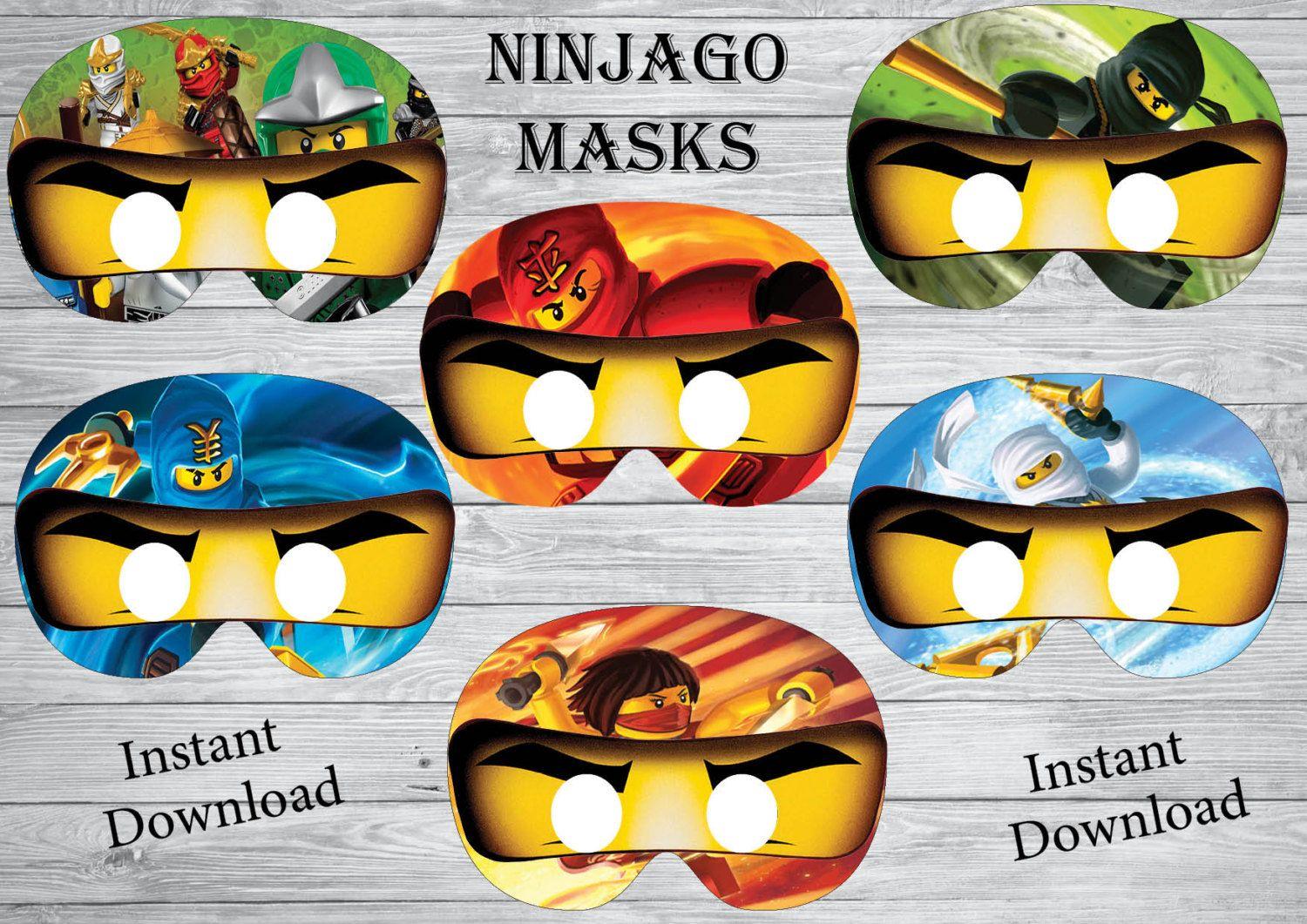 Ninjago Einladung Basteln: Sofort-Download Ninjago Masken Geburtstag Ninjago Ninjago