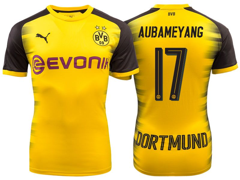 Men s Bundesliga Borussia Dortmund  17 Pierre-Emerick Aubameyang 17-18  Yellow Champions League Home Short Shirt 43d8c33e4