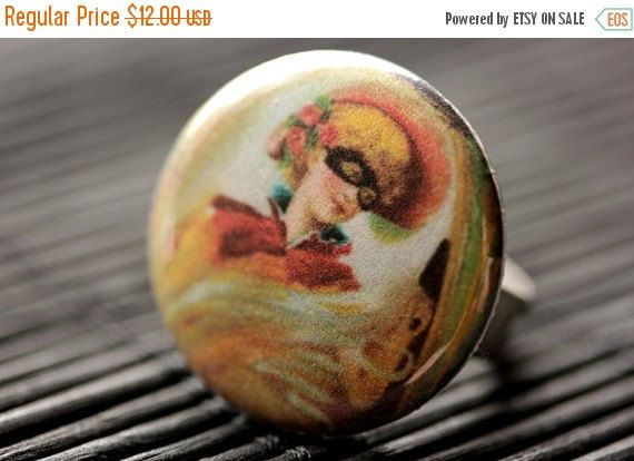 HOLIDAY SALE Halloween Ring. Costume Masquerade Ring.  Vintage Print Button Ring. Halloween Jewelry. Adjustable Ring in Silver. Handmade Jew by StumblingOnSainthood from Stumbling On Sainthood. Find it now at http://ift.tt/2hxNp8m!