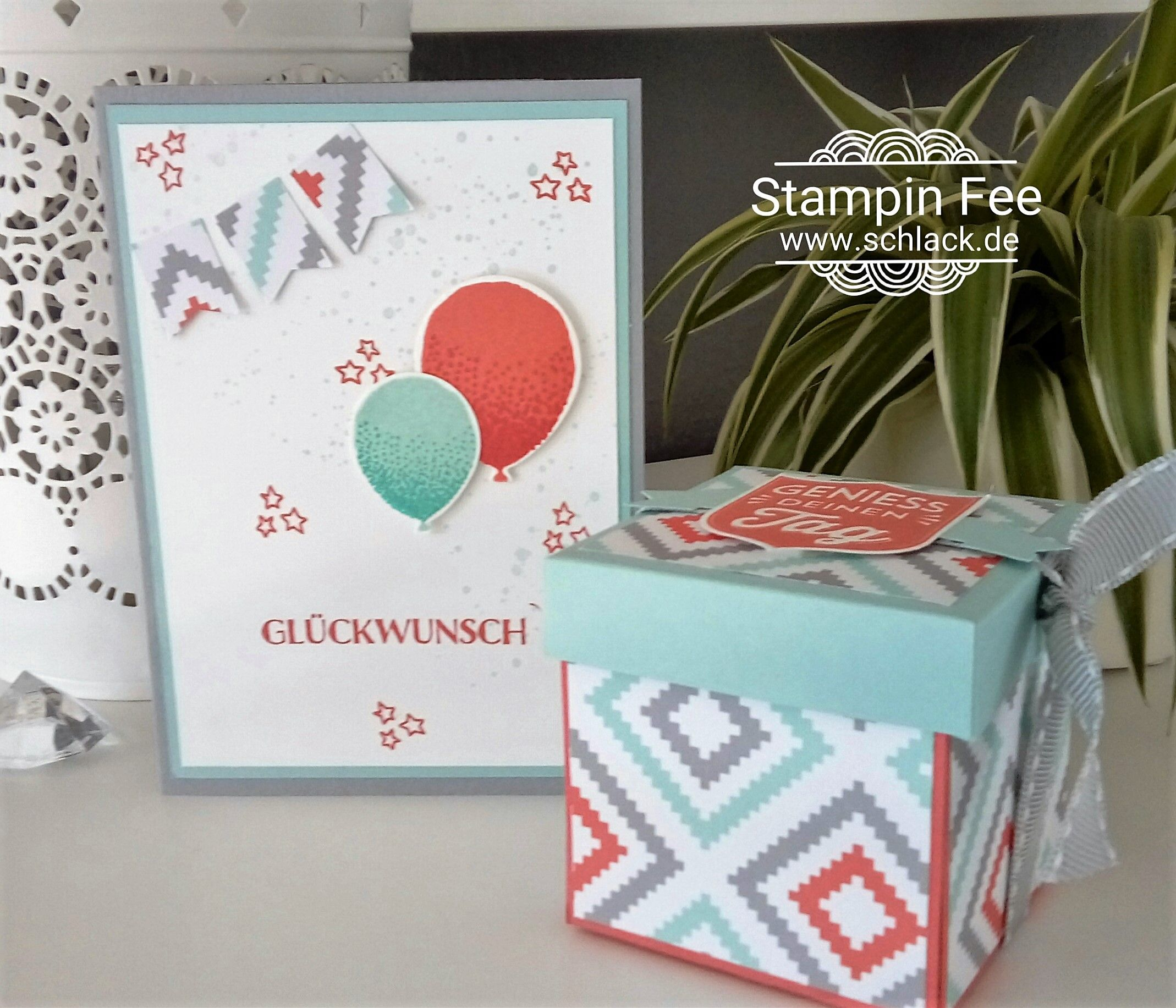 stampin balloon Card birthday with Explosion box designpaper A Little Foxy Designer Series Paper badges and Banners