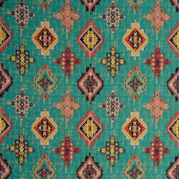 Teal Red Woven Ikat Tapestry Upholstery Fabric Textured Coral - Designer upholstery fabric teal