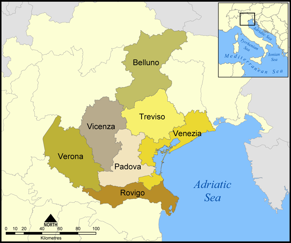 Belluno Province as part of larger Veneto region in Northern Italy