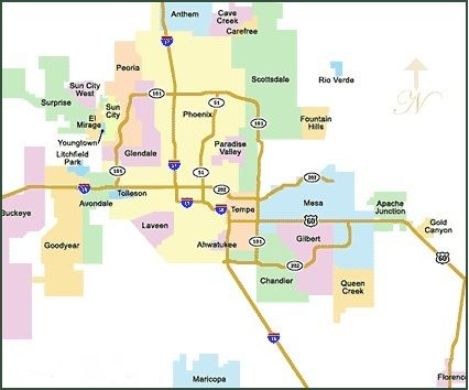 map of phoenix and surrounding area City Map Of Valley Of The Sun Area Map Arizona Map Map map of phoenix and surrounding area