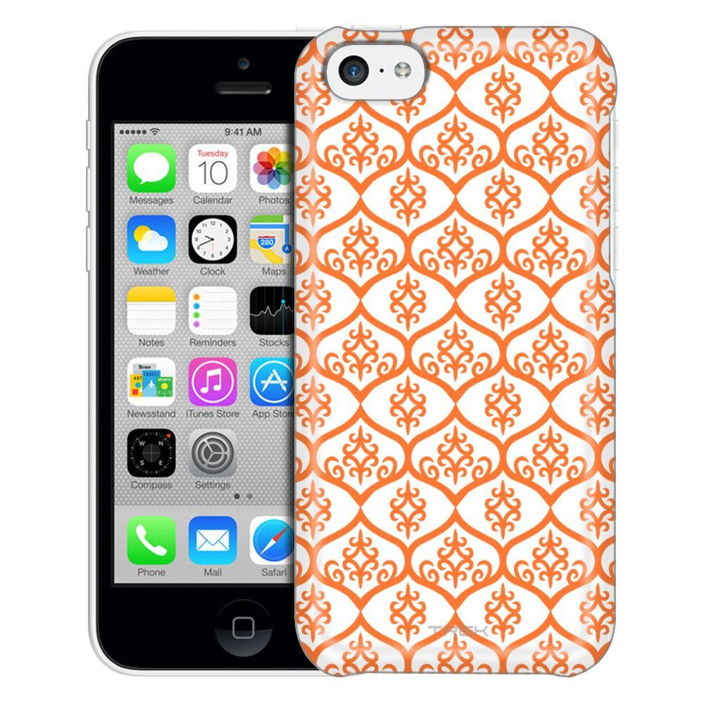 Apple iPhone 5C Victorian Tileable Orange on White Case