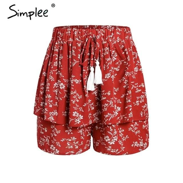 NAME YOUR OWN PRICE -Simplee Ruffle tassel chiffon shorts women Floral print beach summer shorts female Streetwear elastic hight waist shorts 2019 #chiffonshorts