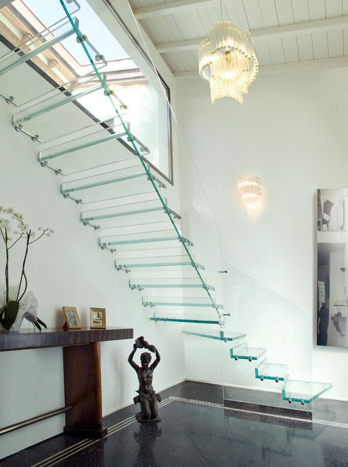 A Marretti Floating Glass Staircase. Regular Float Glass Allows 75 To 92%  Of Light