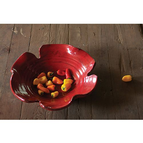 Decorative Leaf Bowl Kalalou Red Giant Leaf Bowl  Red Giant And Leaf Bowls