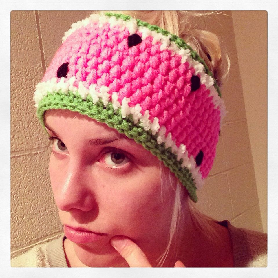 Crochet watermelon headband  5c4b860ad002